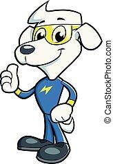 Dog hero posing