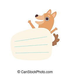 Dog Holding Empty Lined Sheet of Paper, Cute Cartoon Animal with Blank Sign Board Vector Illustration