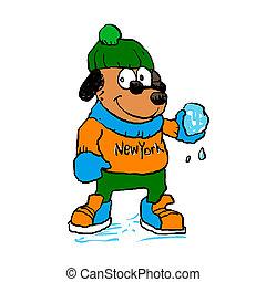 Dog holding snowball .Cartoon illustration
