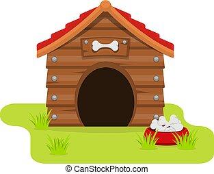 Dog House cartoon flat style. isolated on white background. Vector illustration