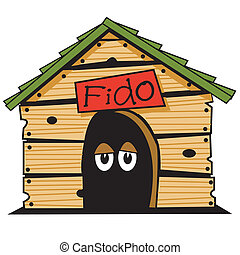 Dog house clip art graphic.