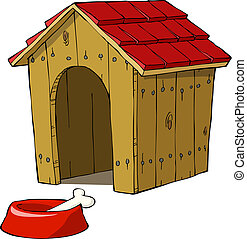 Dog house and bowl with a bone vector illustration