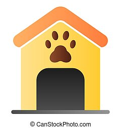 Dog house flat icon. Dog box with paw mark color icons in trendy flat style. Animal cabin gradient style design, designed for web and app. Eps 10.