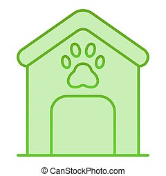 Dog house flat icon. Dog box with paw mark green icons in trendy flat style. Animal cabin gradient style design, designed for web and app. Eps 10.
