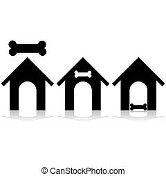 Dog house icon - Icon set showing a dog house and a bone
