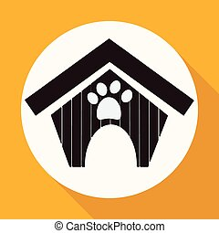 dog house icon on white circle with a long shadow