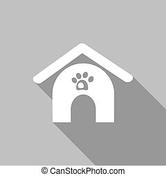 dog house icon with a long shadow