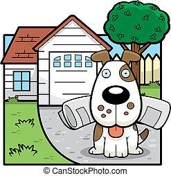 Dog House - A cartoon dog at a house.