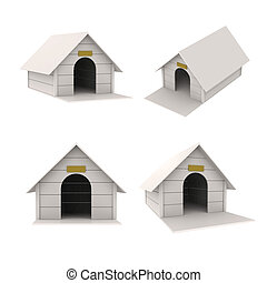 Dog house in perspective white 3d