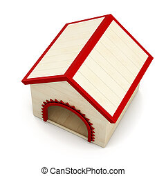 Dog house isolated on white background. Top view. 3d rendering