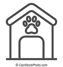 Dog house line icon. Dog box with paw mark vector illustration isolated on white. Animal cabin outline style design, designed for web and app. Eps 10.