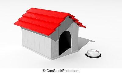 Dog house model isolated on white background