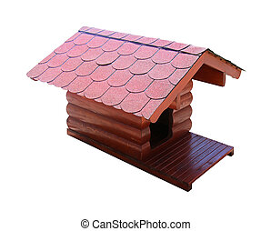 Dog house - Wooden small dog house isolated with clipping...