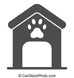 Dog house solid icon. Dog box with paw mark vector illustration isolated on white. Animal cabin glyph style design, designed for web and app. Eps 10.