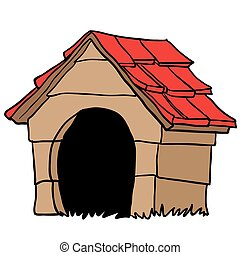 dog house happy dog dreaming near his wood house isolated