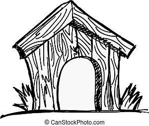 dog house - Wooden dog house on the white background