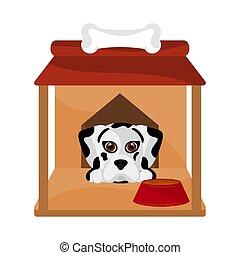 Dog house with a cute dog cartoon