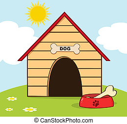 Dog House With Bowl On A Hill - Bone In A Dish Outside A Dog...