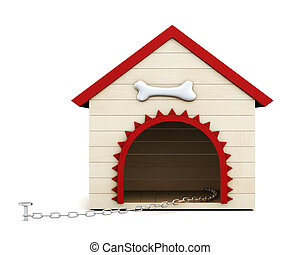 Dog house with chain isolated on white background. 3d rendering