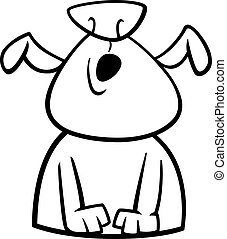 Black and White Cartoon Illustration of Funny Howling Dog or Puppy for Coloring Book