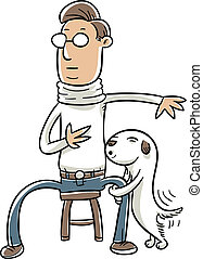 Dog Humping Leg - A cartoon dog humping a sitting man's leg.