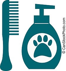 Dog hygiene vector icon. - Pet dog shampoo flat icon...