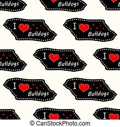 Dog i love bulldogs heart valentine vector seamless pattern wallpaper on white background.