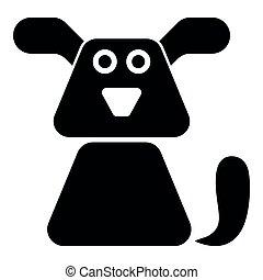 Dog icon black color illustration flat style simple image
