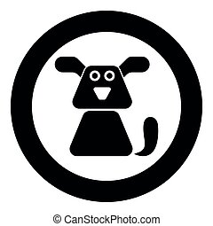 Dog icon black color vector illustration simple image