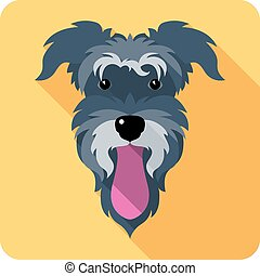dog icon flat design - Vector dog Miniature Schnauzer breed...