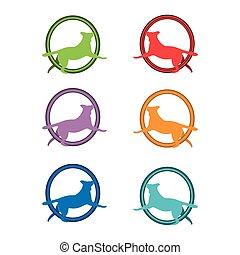 Dog icon set, Colorful dogs