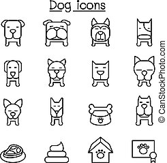 Dog icon set in thin line style