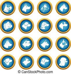 Dog icons blue circle set