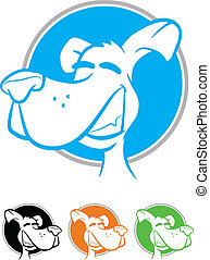 Dog Icons - Illustration of a smiling dog on a circular...