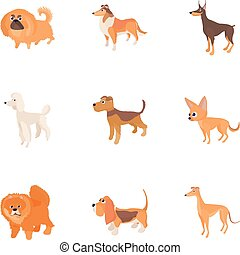 Dog icons set, cartoon style
