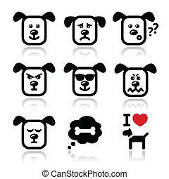 Dog icons set - happy, sad, angry