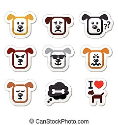Dog icons set - happy, sad, angry i