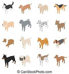 Dog icons set, isometric 3d style
