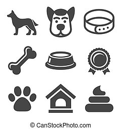 Dog Icons Set on White Background. Vector
