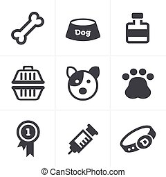 Dog Icons Set, Vector Design