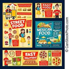 dog, ijs, pizza, voedingsmiddelen, hamburger, soda, warme, vasten, room