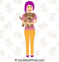 dog., illustration., 彼女, 夢を見る, arms., ベクトル, 女の子, 子犬, 幸せ