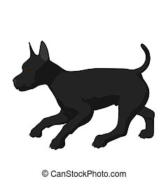 Dog Illustration - Black puppy dog on a white background