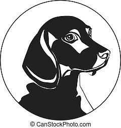 dog., illustration., isolato, fondo., forma, vettore, logotipo, bianco
