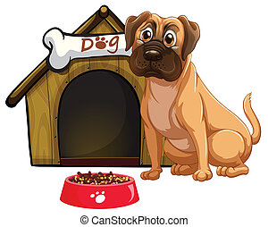 Dog - Illustration of a dog and a doghouse