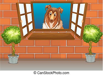Dog - illustration of a dog by the window