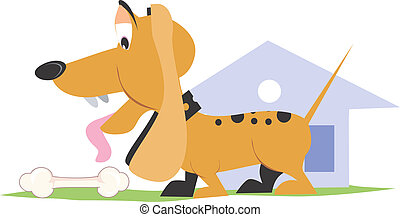 dog - Illustration of a dog standing near kennel and a bone...