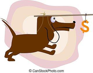 Dog - Illustration of a dog with dollar fishing hook