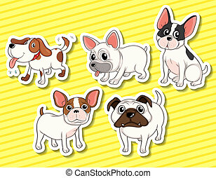 Dog - illustration of five different dogs