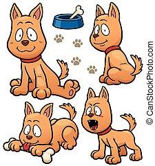 Dog - Vector illustration of Cartoon Dog Character